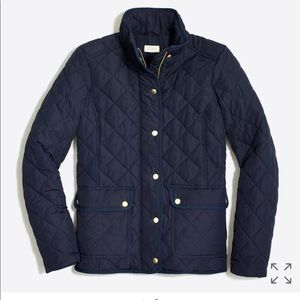 Navy J. Crew quilted coat